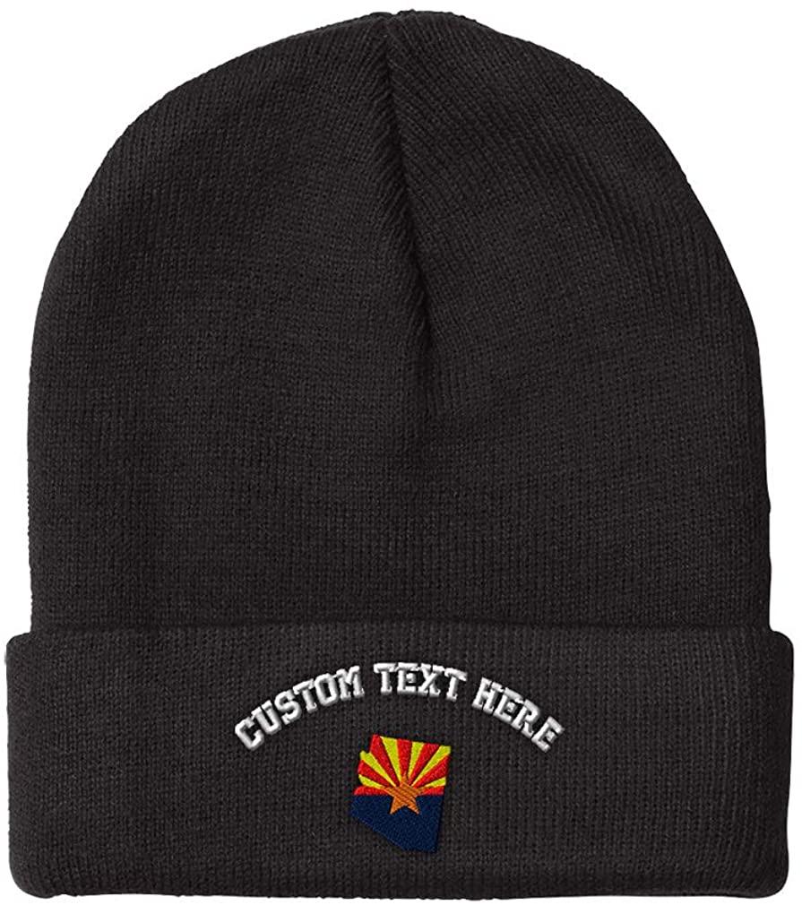 Custom Beanie for Men & Women Arizona Flag State Embroidery Skull Cap Hat