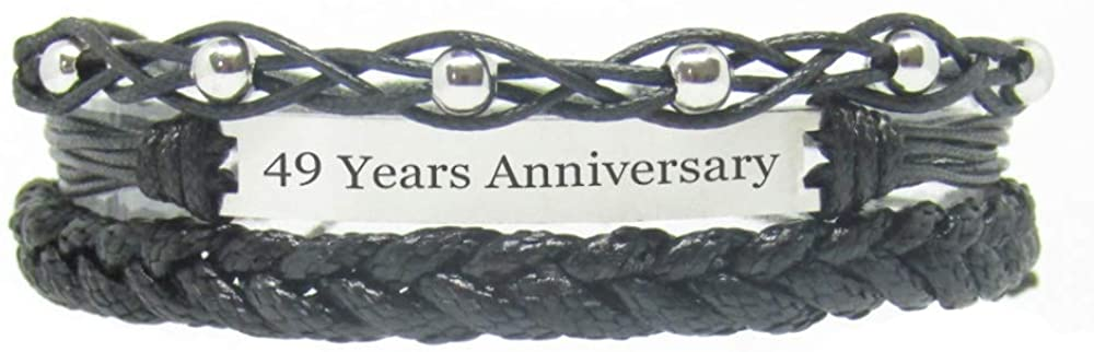 Miiras Anniversary Handmade Bracelet - 49 Years Anniversary - Black 1 - Made of Braided Rope and Stainless Steel - Gift for Women, Girls, Friends, Mothers, Daughters, Aunts