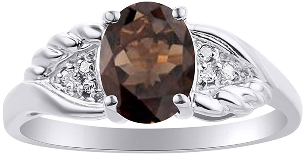 Diamond & Smoky Quartz Ring Set In 14K White Gold Diamond Wings Design