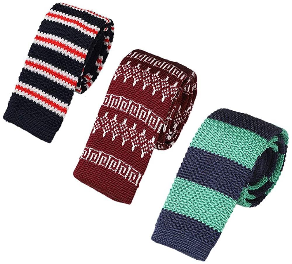 AngelShop 3-PAK Men Skinny Knit Tie Vintage Casual 2.2