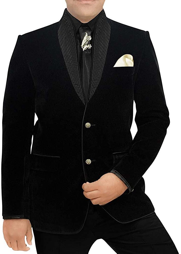 INMONARCH Mens Black Velvet 6 Pc Tuxedo Suit High Neck TX1106