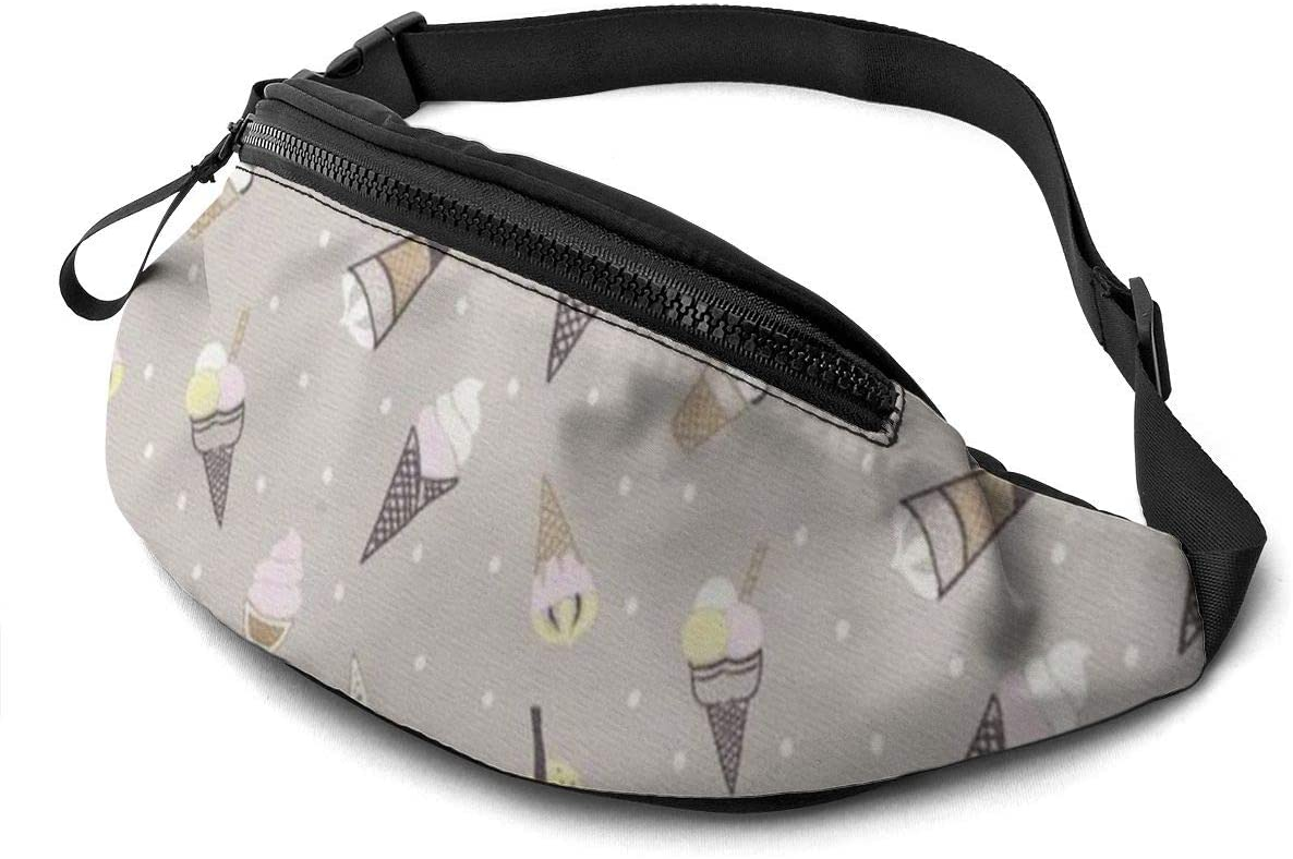 Ice Cream Fanny Pack For Men Women Waist Pack Bag With Headphone Jack And Zipper Pockets Adjustable Straps