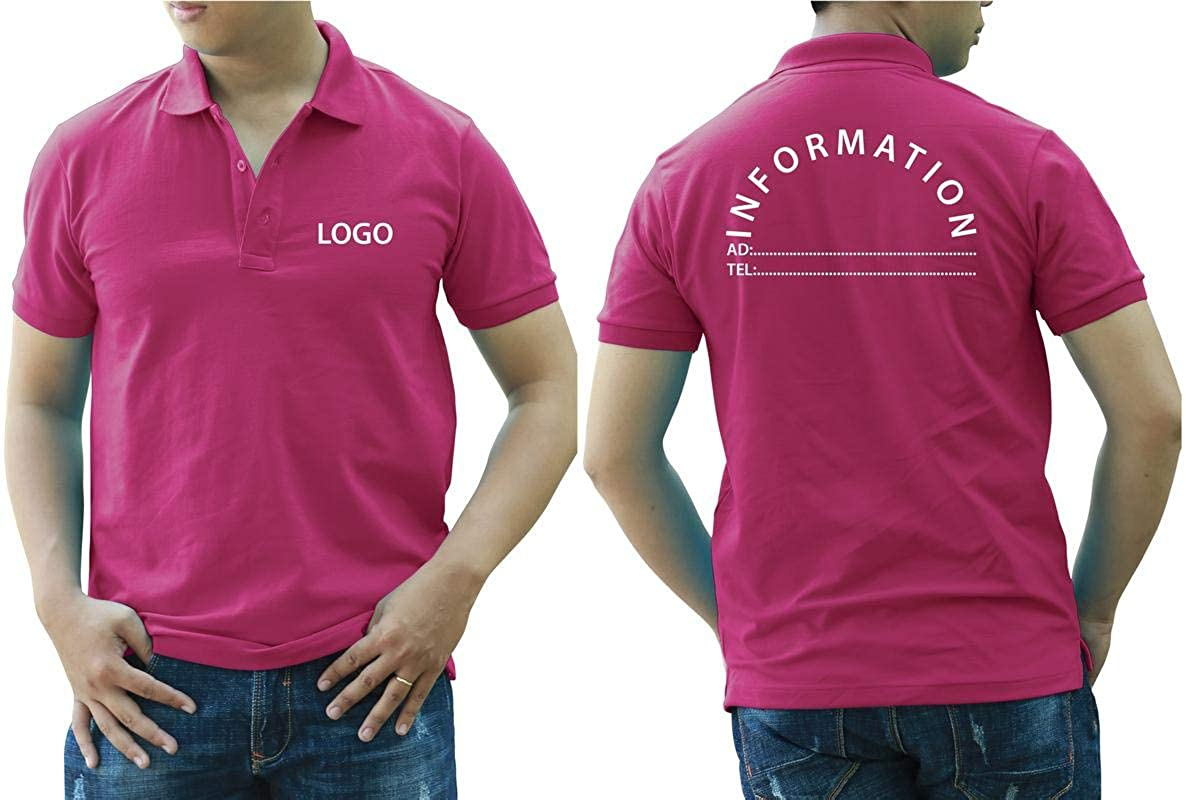Add Your Logo Text Design Image Picture. Custom Polo. Personalized Polo. Printed On Polo & T-Shirt Uniform with Multi Sides. International Pack of 10 Deep Pink