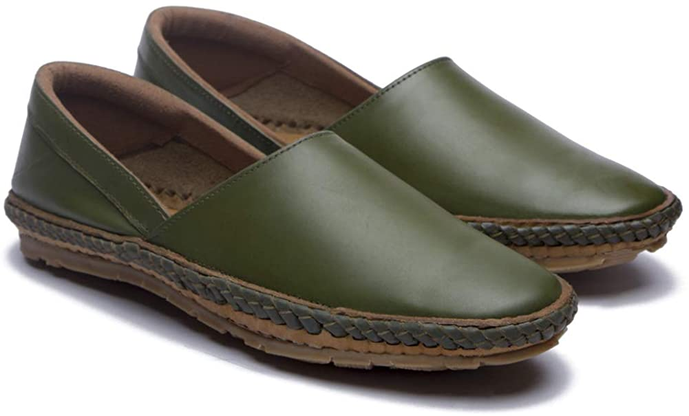 Desi Hangover Genuine Premium Leather Handmade Mens Casual Shoes Slip-on Loafers Tycoon Olive Green (Numeric_10)