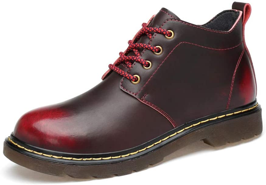 Chenteshangmao Men's Shoes-Men's and Women's Fashionable Ankle Boots Casual SND Retro High Top Painted Outsole Work Shoes (Warm Velvet Optional) Comfortable (Color : Warm Wine Red, Size : 47 EU)