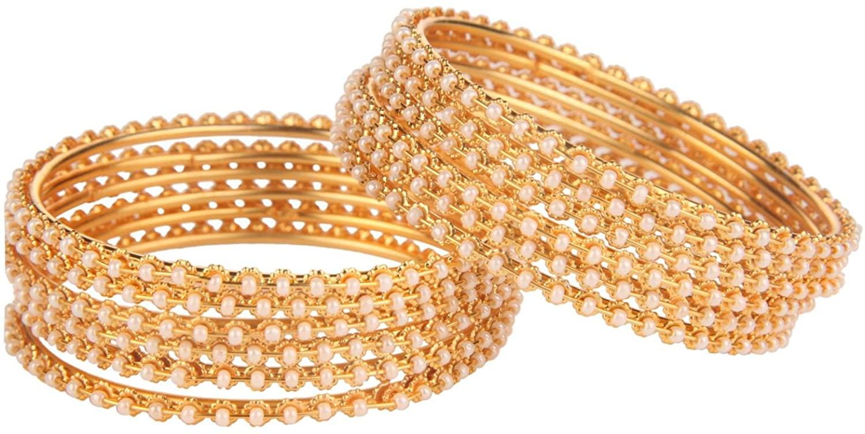 Efulgenz Fashion Jewelry Indian Bollywood 14 K Gold Plated Faux Pearl Beads Bracelets Bangle Set (12 Pieces)