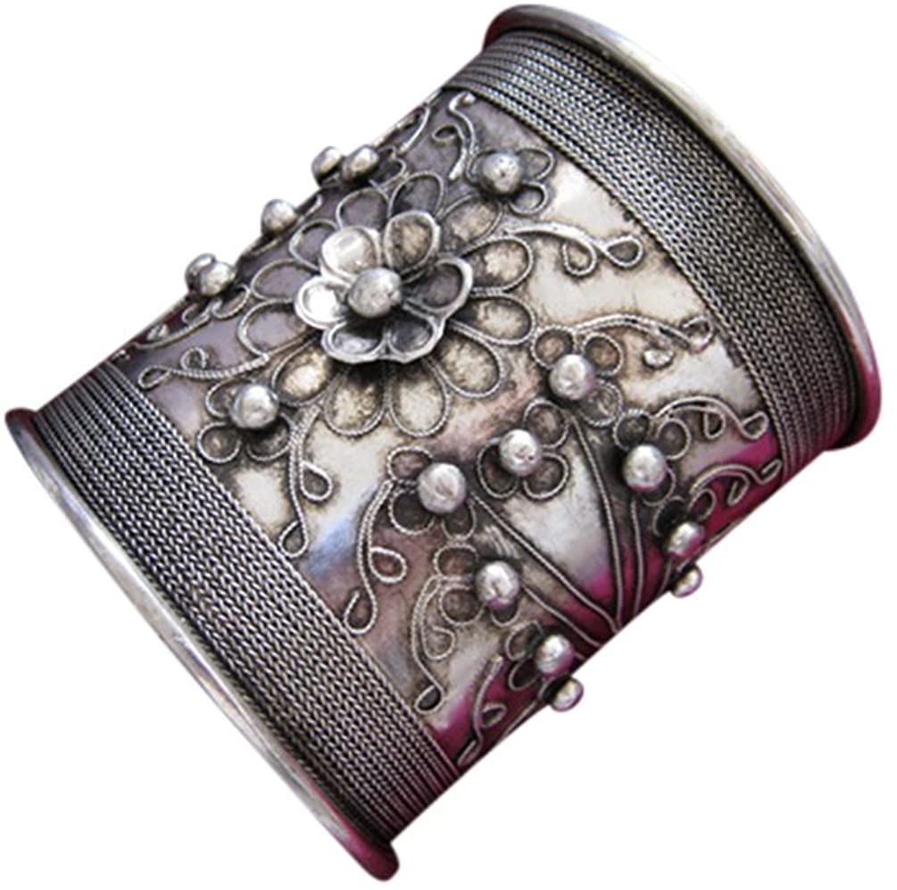 Tribal Silver Cuff Bracelet Chinese Ethnic Hmong Miao Jewelry #224 Unique Handmade