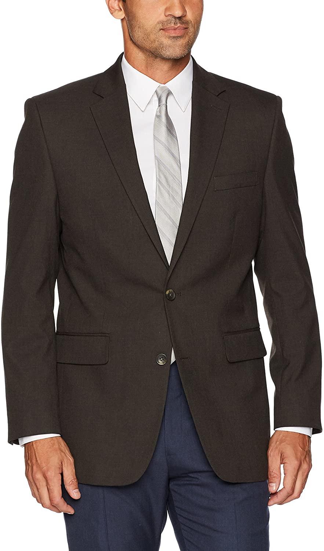 J.M. Haggar Men's Sharkskin Premium Classic-Fit Stretch Suit Separate Coat, Chocolate Blazer, 40L