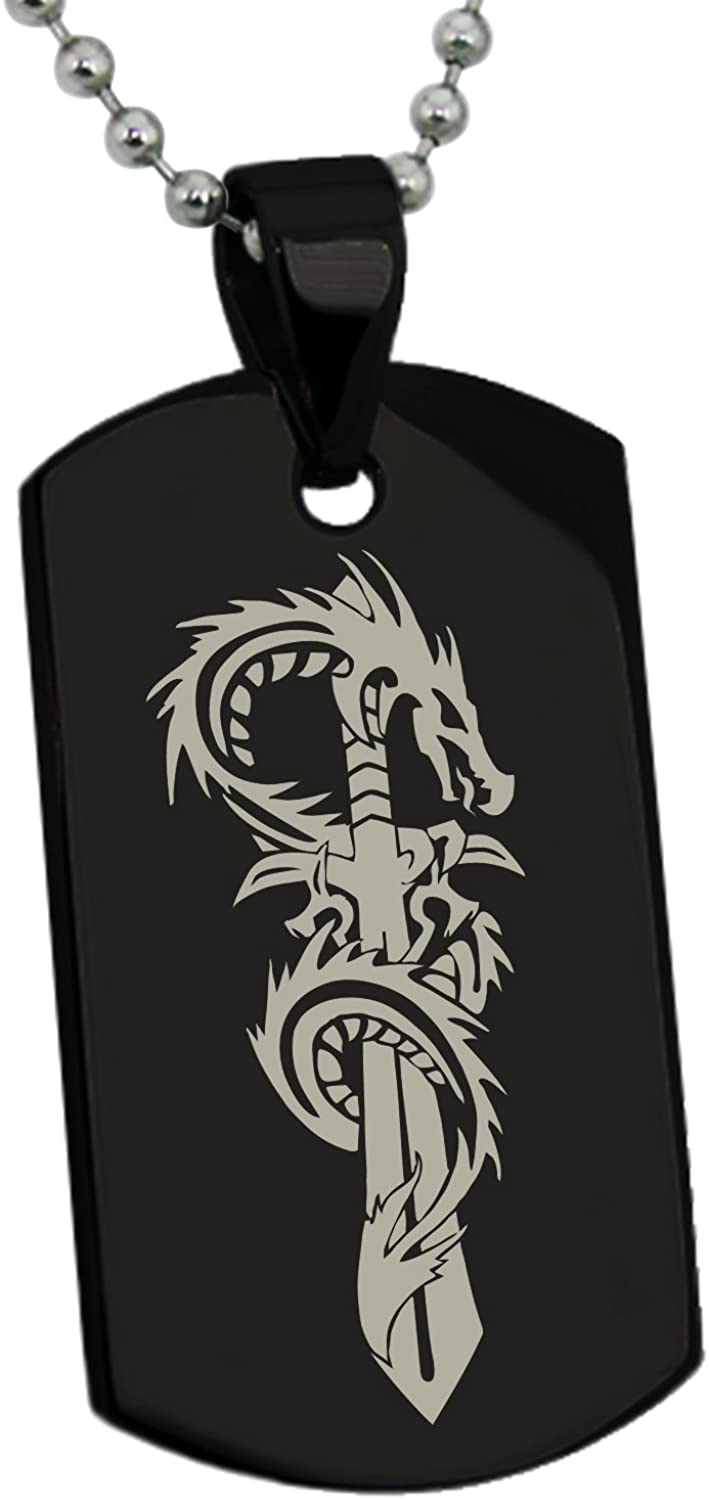 Tioneer Stainless Steel Exalted Dragon Blade Dog Tag Pendant Necklace