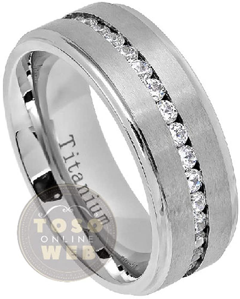 Toso Web Men's 8mm Stepped Edge Polish Titanium Wedding Band Ring w/CZ Stones Over Brushed Center, Comfort Fit Wedding Band Ti5852- Free Engraving