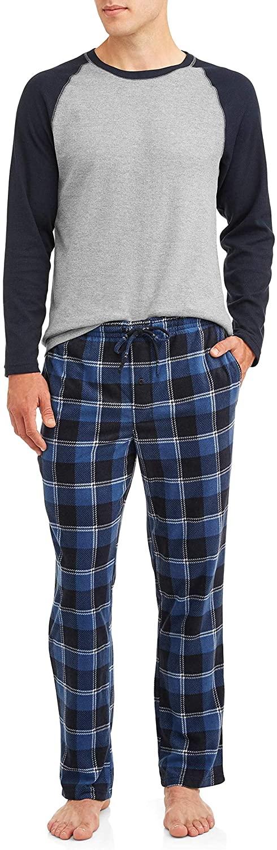 Hanes Mens Adult Xtemp Long Sleeve Crew Shirt & Fleece Plaid Pant Pajamas PJ Set