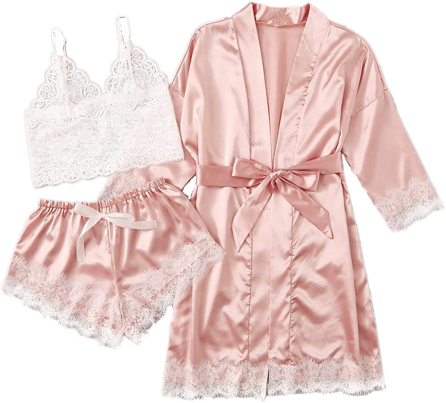 DIDK Women's Lace 3 Piece Satin Robe and Pajama Set with Robe Camisole Sleep Shorts