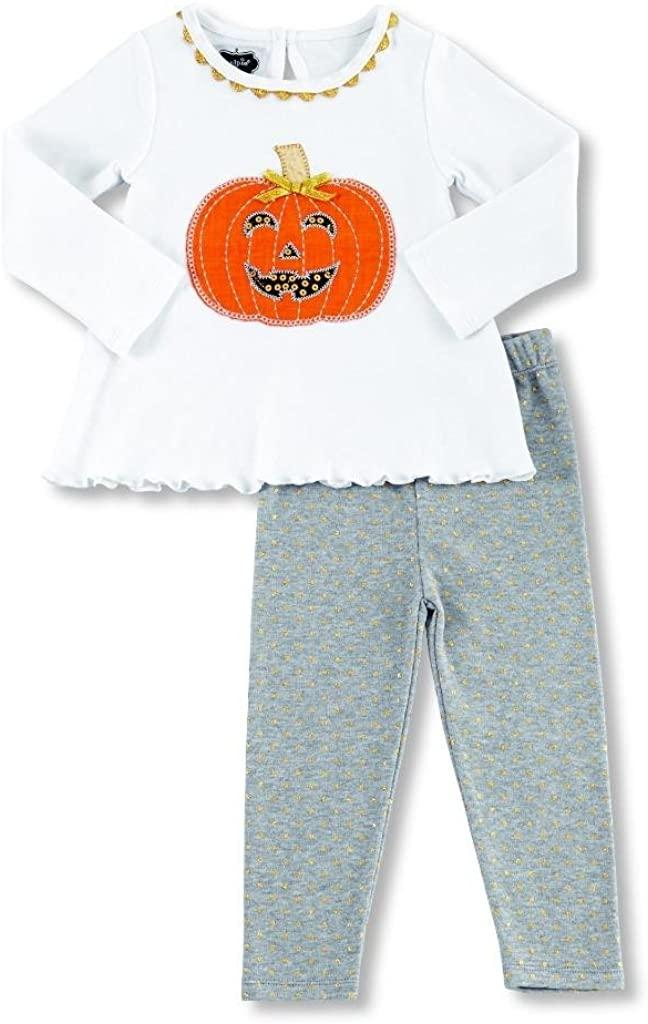 Mud Pie Little Girls Tunic and Leggings Set Pumpkin Applique, 2T