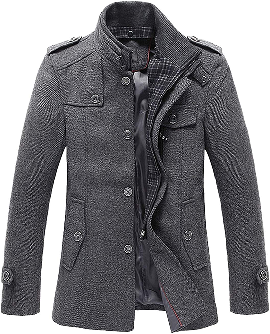 Mens Winter Stylish Wool Blend Single Breasted Military Peacoat