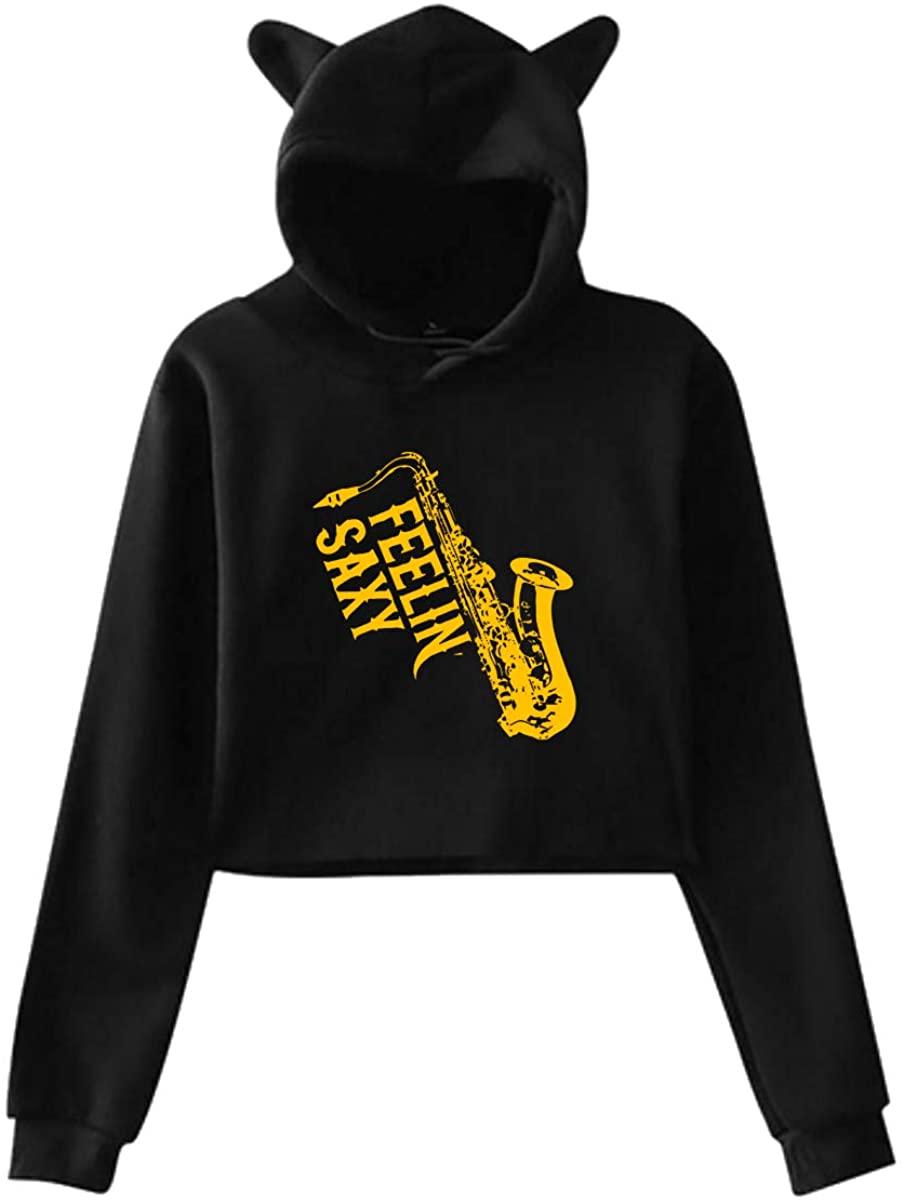 Feelin Saxy Saxophone Women Classics Cat Ear Sweater Midriff-Baring Hoodie