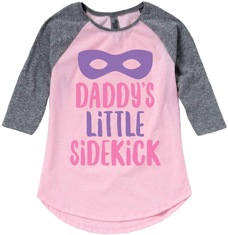 Daddys Little Sidekick Girls - Mothers Day Toddler Girl Shirt Tail Raglan