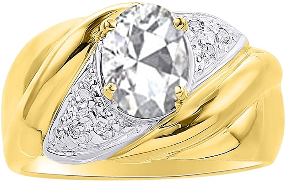 Diamond & White Topaz Ring Set In Yellow Gold Plated Silver - Color Stone Birthstone Ring