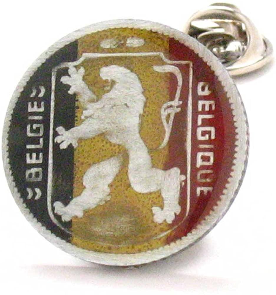 Marcos Villa Belgium Coin Tie Tack Lapel Pin Vintage Knight Belgie Belgique juwelen Reversspeldje Brussels Antwerp