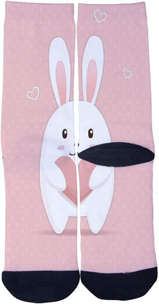 Cute Bunny with Heart Socks Men's Women's Personality Casual Socks Custom Sports Socks Creative Fashion Crew Socks