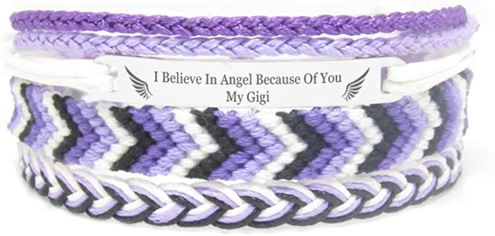 Miiras Remembrance Bracelet, Memorial Jewelry - I Believe in Angel Because of You My Gigi - Purple 1- Beautiful Way to Remember Your Gigi That is no Longer with You
