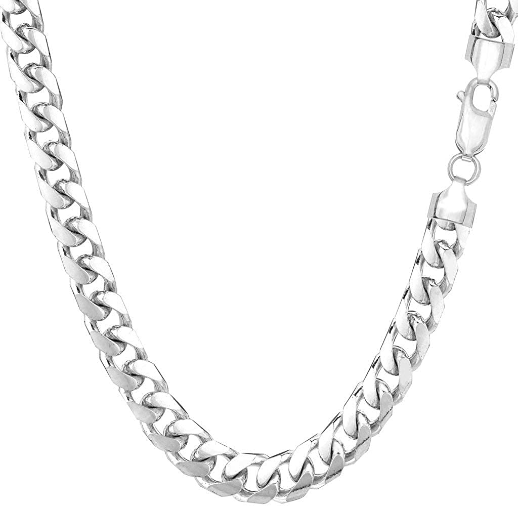 The Diamond Deal Mens SOLID 14K Yellow Or White Gold 5.8mm Shiny Miami Cuban Link Chain Necklace For men for Pendants Or Mens Bracelet with Lobster-Claw Clasp (8.5