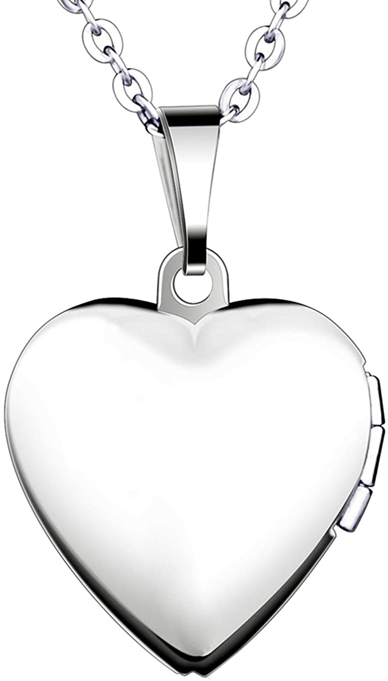 Yumilok Stainless Steel Rose Gold Plated/Silver Pink/Silver Blue Heart Shape Memory Picture Photo Locket Pendant Necklace for Women/Girls/Couples