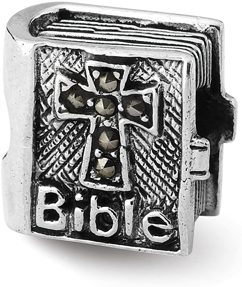 Bead Charm White Sterling Silver Themed Marcasite 10 mm 10.00