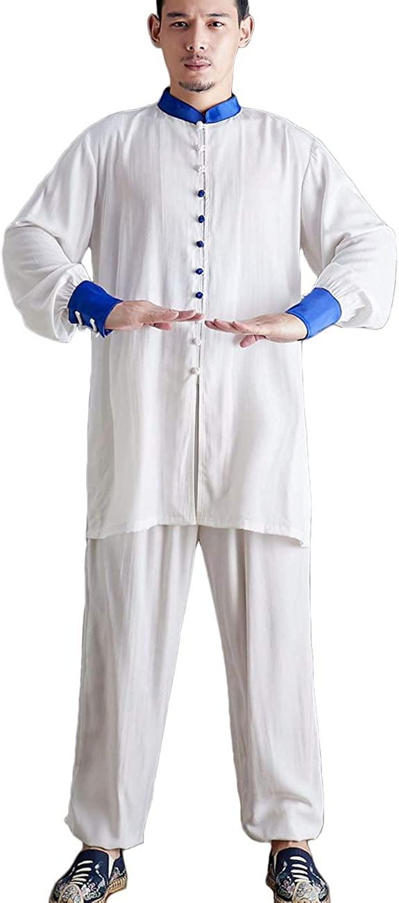 LZJN Retro Men's Chinese Traditional Tai Chi Uniforms Kung Fu Clothing Wushu Tang Suit Martial Arts Wear