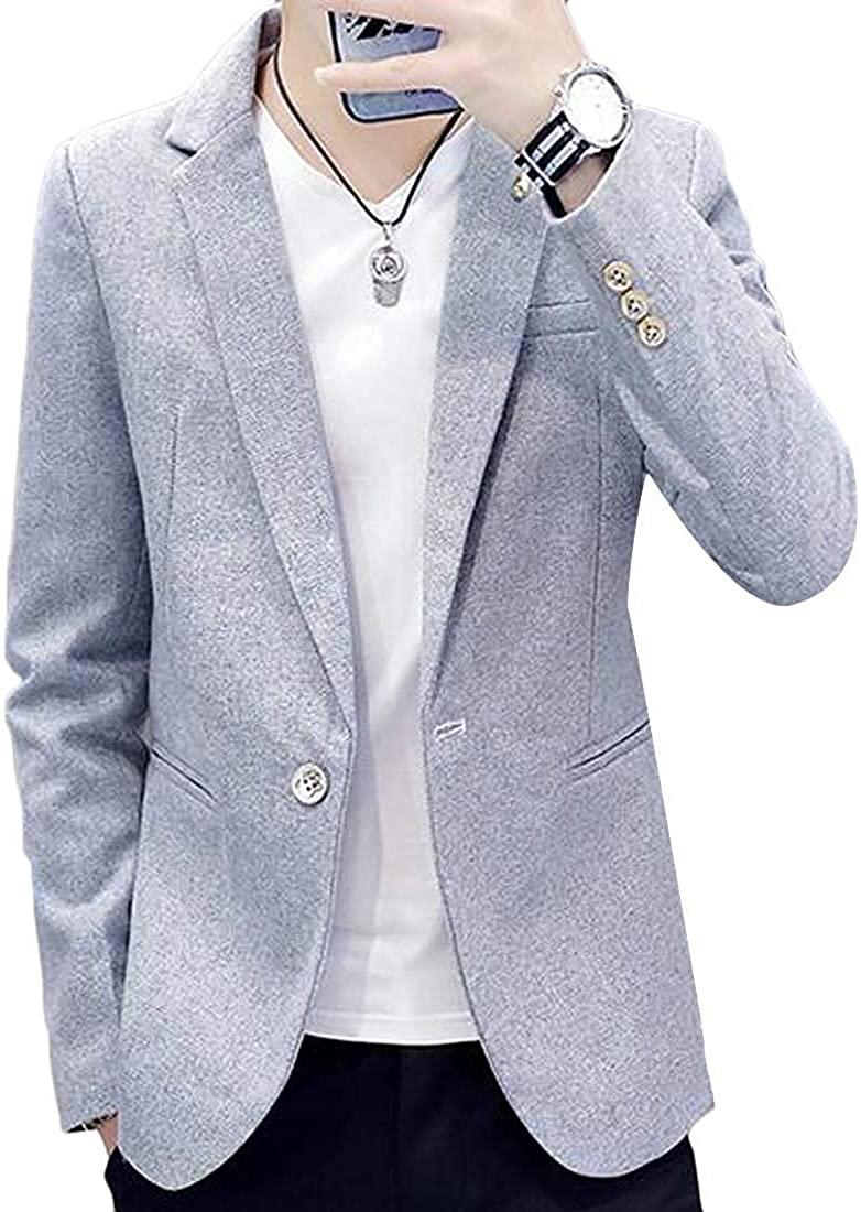 Men Suit 1 Button Slim Casual Business Plain Dress Blazer Jacket Coat