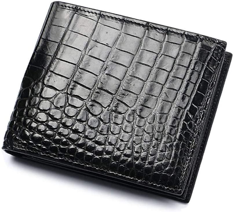 Genuine Crocodile Siamese Belly Skin Leather Man Bifold Wallet Black - Best Birthday Gift for Husband, Boyfriend, Son