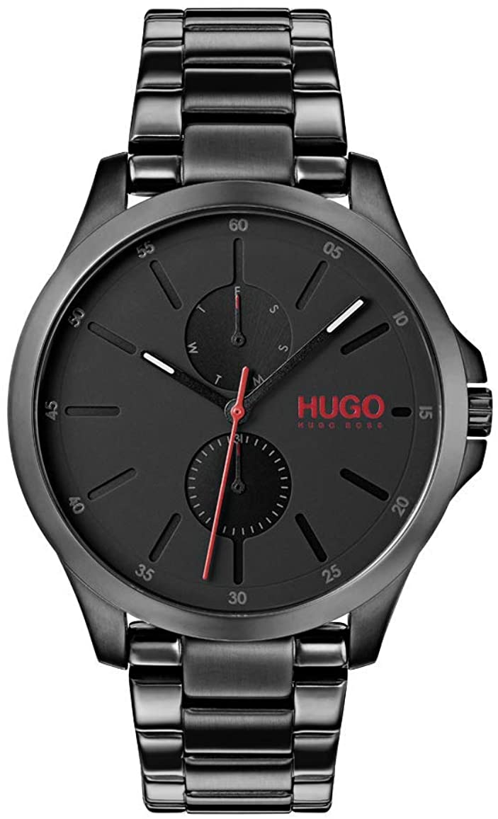 Hugo Men's #Jump Quartz Black IP and Black IP Bracelet Casual Watch, Color: Black (Model: 1530028)
