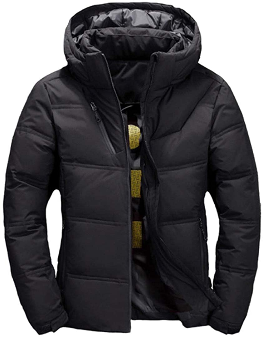 Zichhing Men Hooded Windproof Outerwear Casual White Down Coats