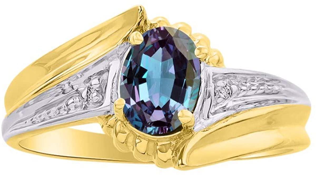 RYLOS Simply Elegant Beautiful simulated Alexandrite/Mystic Topaz & Diamond Ring - June Birthstone