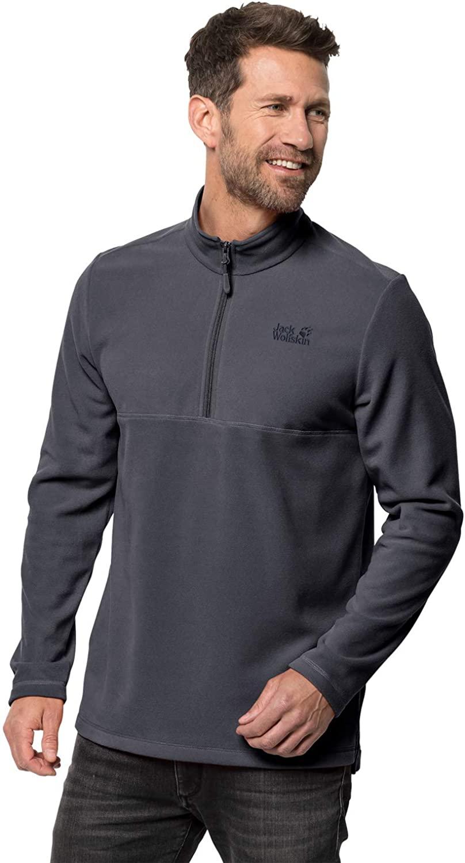 Jack Wolfskin Men's Wolf Lightweight Half-Zip Fleece Sweater, Ebony, 3X-Large