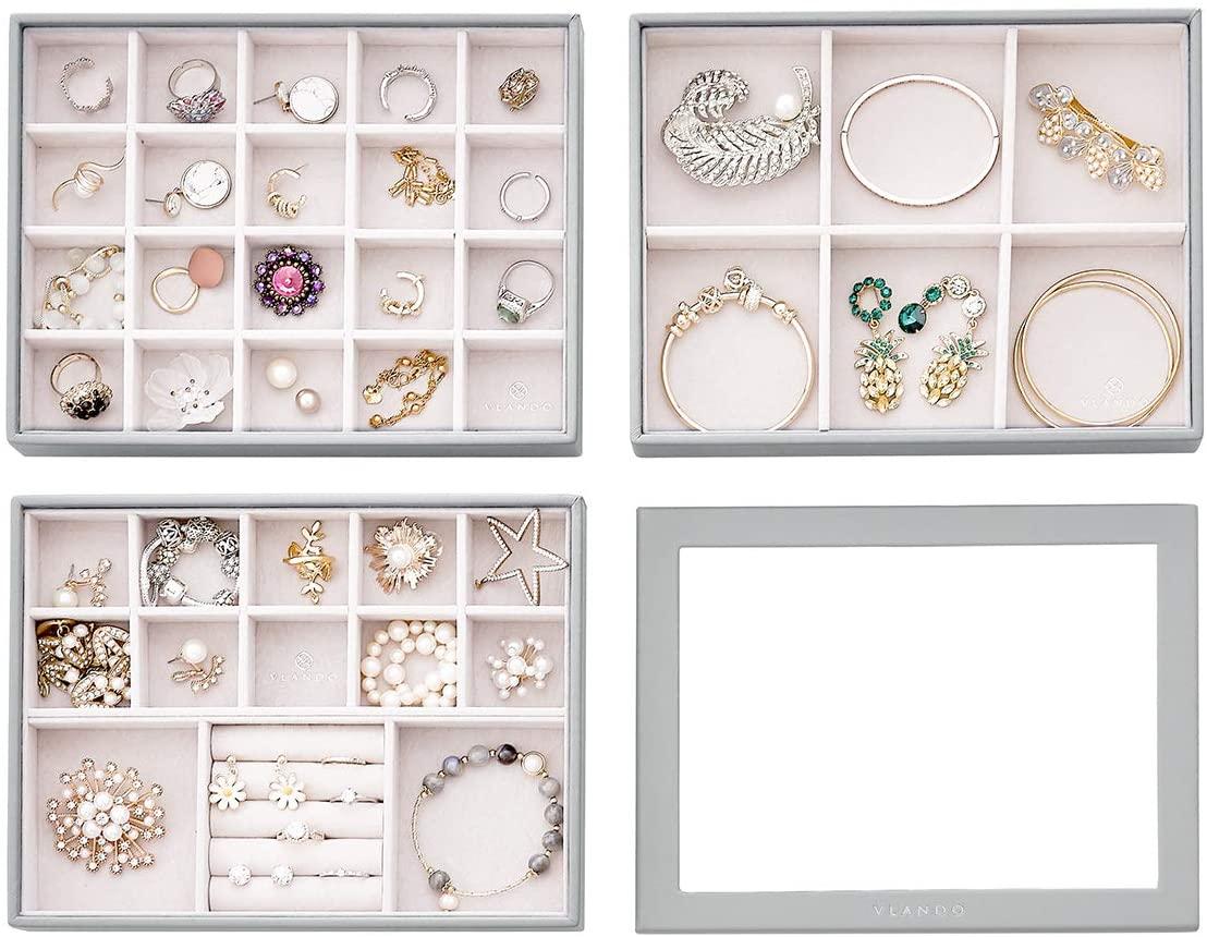Vlando 4 in 1 Jewelry Tray Jewelry Organizer for Drawer Jewelry Organizer Tray Jewelry Drawer Organizer Stackable Jewelry Organizer Trays Drawer Jewelry Organizer-Grey
