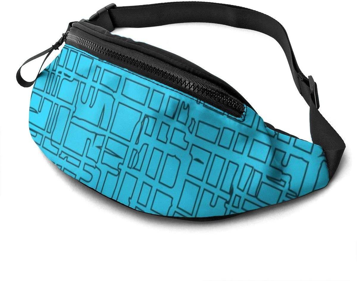 Blue Of Hand Drawn Rectangular Shapes Fanny Pack For Men Women Waist Pack Bag With Headphone Jack And Zipper Pockets Adjustable Straps