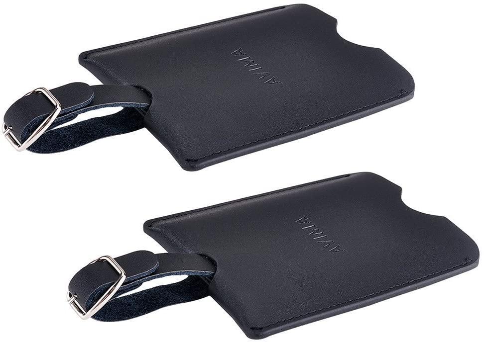AVIMA Premium Deluxe Handmade Leather Travel Suitcase Luggage Bag Tags ID Card 2pcs Set (Black)