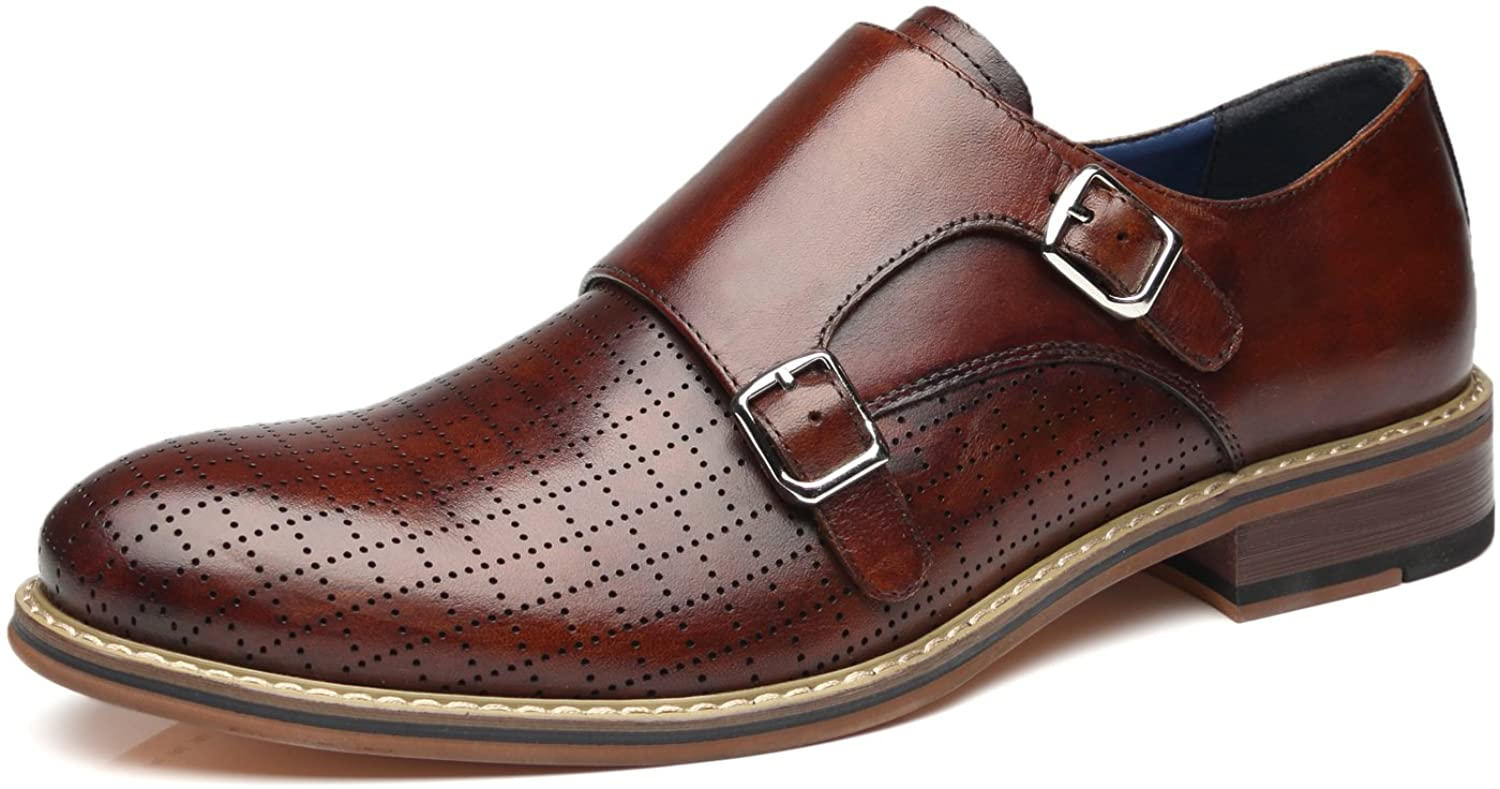 La Milano Men's Double Monk Strap Slip On Loafer Leather Oxford Plain Toe Classic Casual Comfortable Dress Shoes for Men