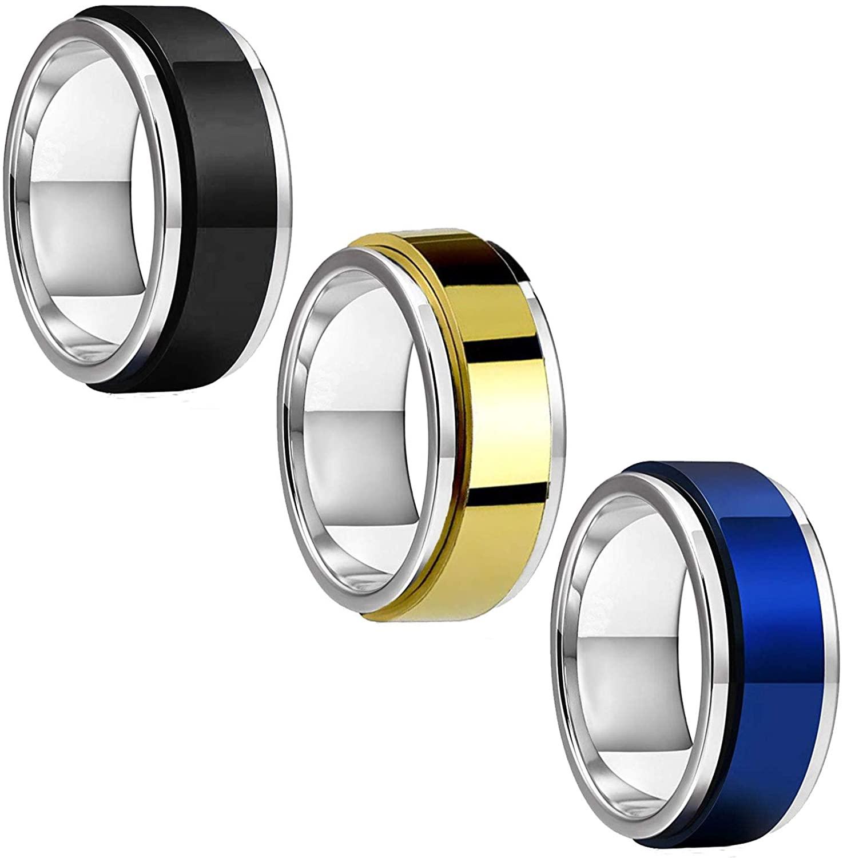 BodyJ4You 3PC Ring Set Spinner Bands Men Women Black Blue Goldtone Size 8-12 Steel Promise Gift