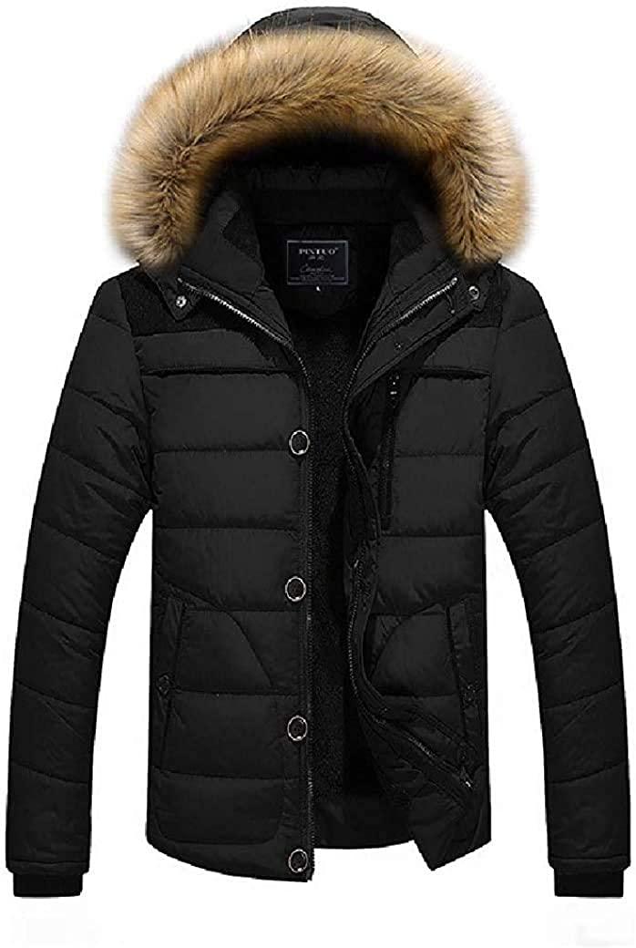Fnbdyfjdsf Men Winter Cotton Fur Hooded Outwear Thicken Outwear Jacket,Black,Small