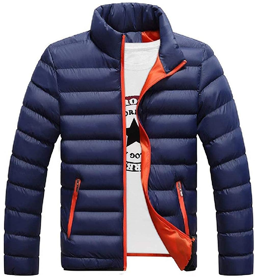 TO-Alanj Mens Quilted Jacket Stand Collar Warm Solid Winter Down Puffer Coat Outwear