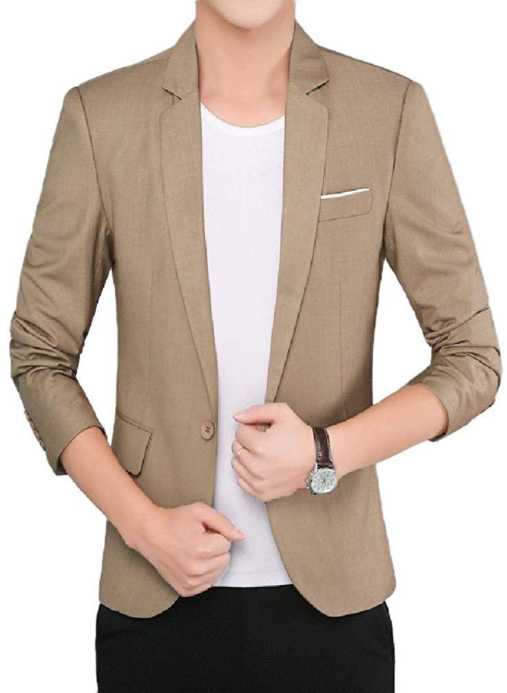 Men Oversized Comfort Soft 3/4 Sleeve Gentleman Blazer Sport Coat,Khaki,Small