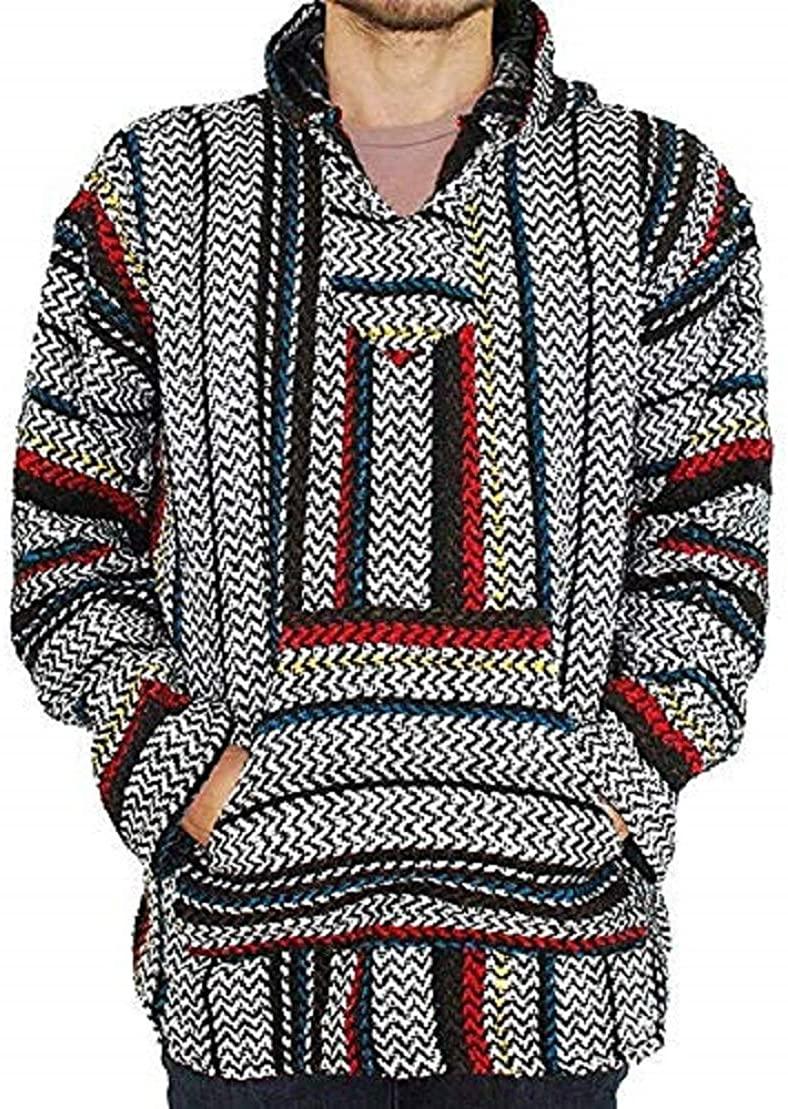 Baja Joe Striped Woven Eco-Friendly Jacket Coat Hoodie (pinstripe, Medium)
