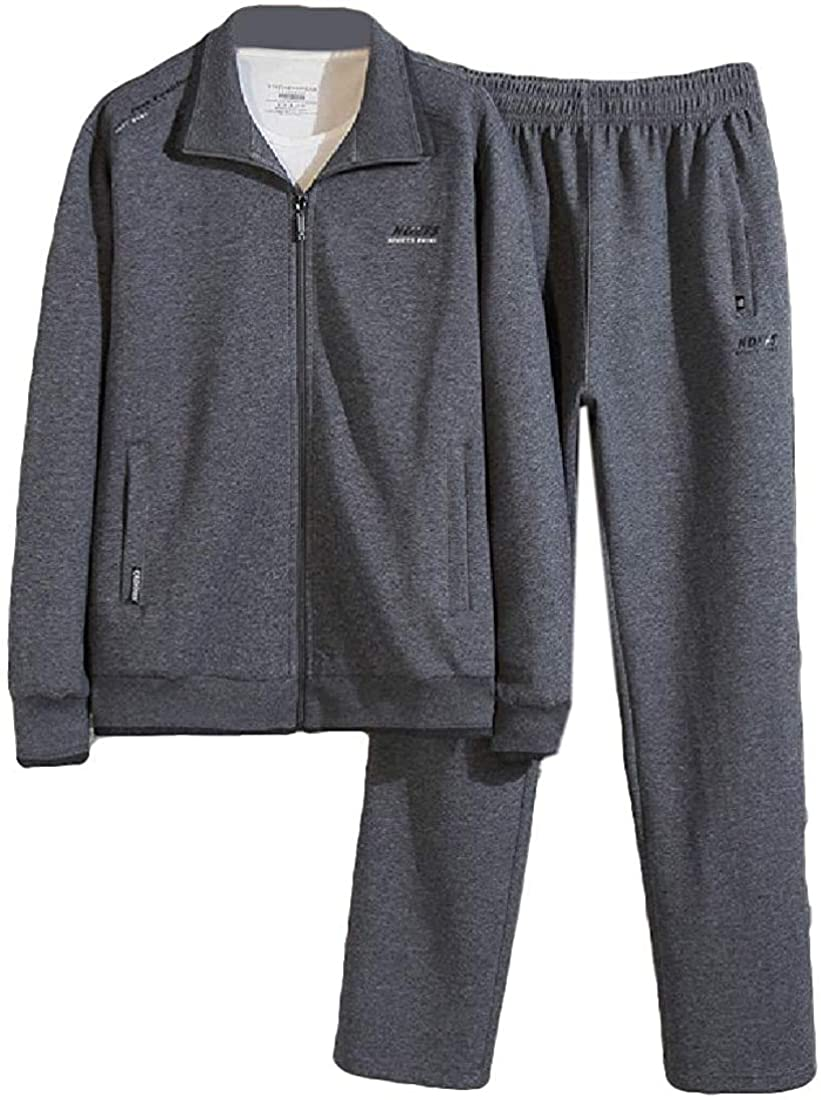 Men Plus Size 2 Piece Set Zip-Up Relaxed Athletic-Fit Tracksuit Outfit