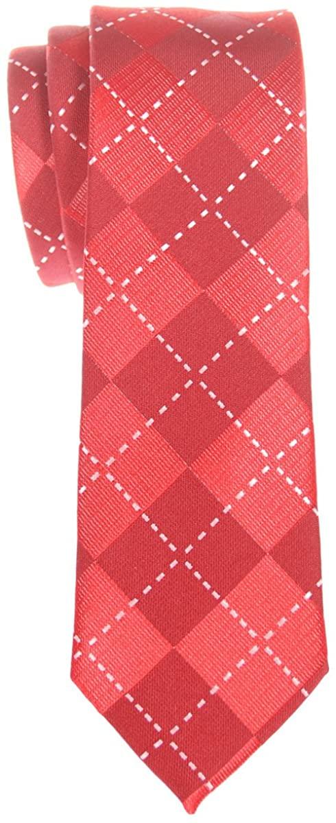 Retreez Classy Plaid Check Woven Microfiber Skinny Tie - Various Colors