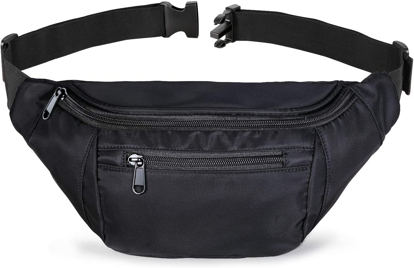 Fanny Packs for Women and Men, Black Waist Bag Fanny pack for Teen Boys Girls, Plus Size Belt Bags Hip Bum Pouch with Multi-pockets, Large Waist Pack for Running, Travel, Hiking, Cycling, Dog Walking