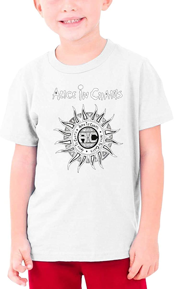 Boys and Girls Teens Short Sleeve T-Shirt Alice in Chains Generous Eye-Catching Style White