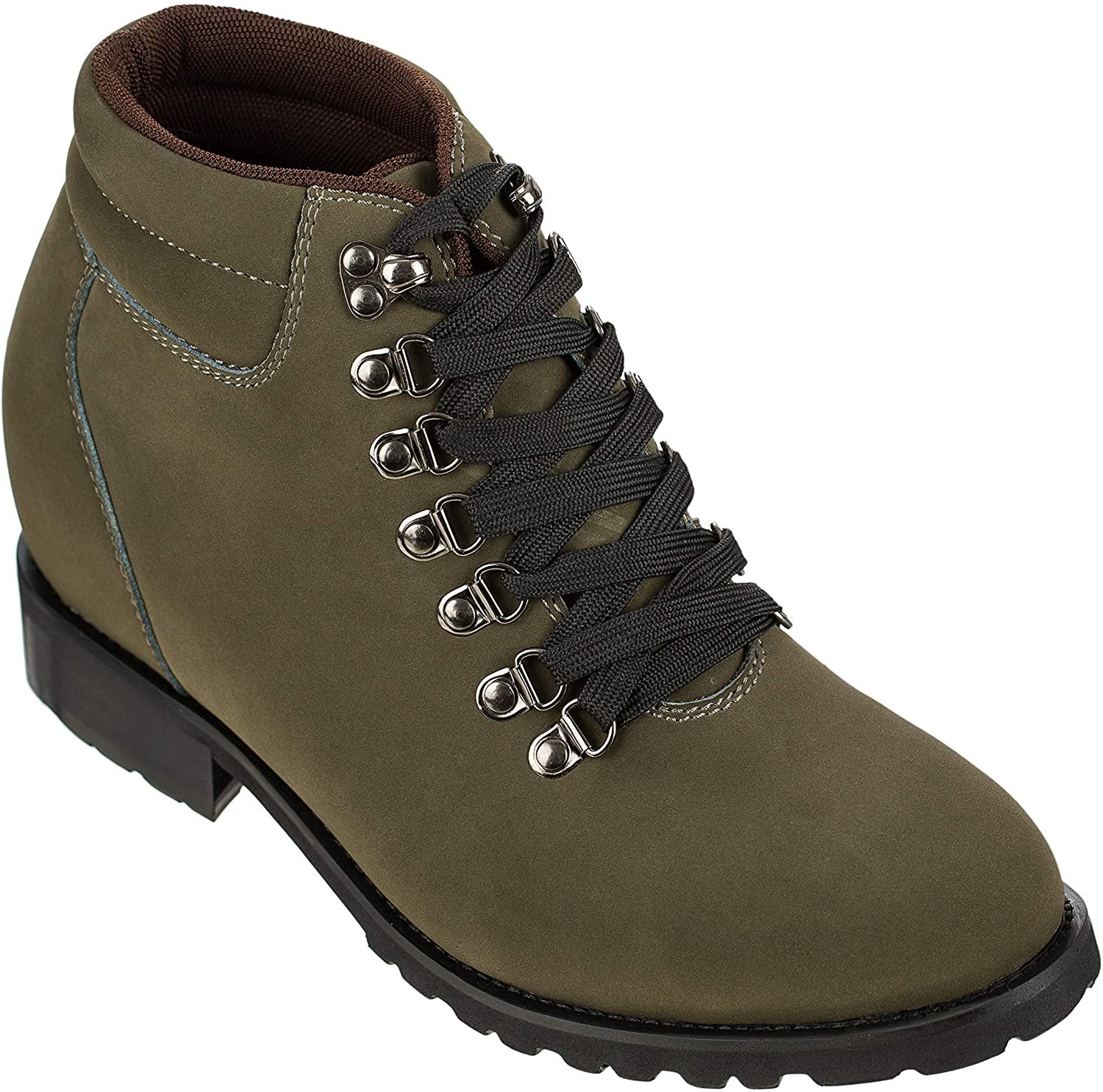 Calden Men's Invisible Height Increasing Elevator Shoes - Nubuck Grey Leather Lace-up Super Lightweight Ankle Boots - 3.3 Inches Taller - K289022