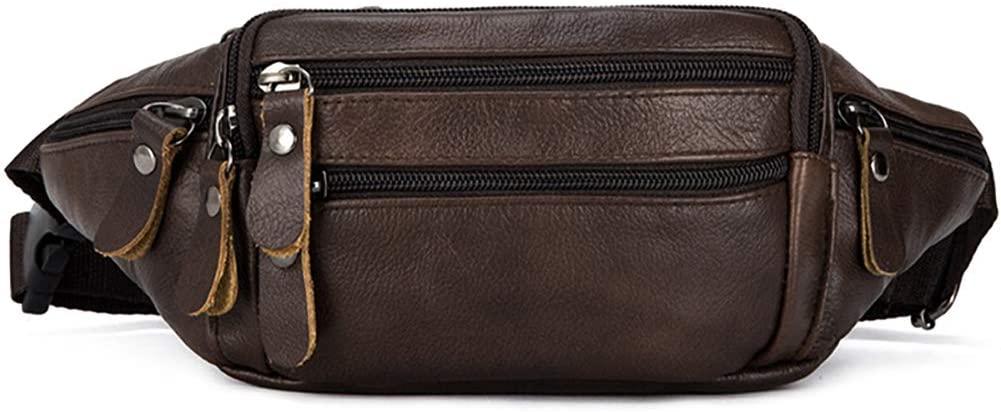 OrrinSports Leather Waist Bag for men & women, Fanny Pack for Sports Hiking Running Travel-Brown
