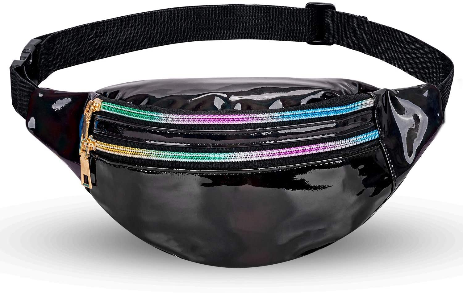 LIVACASA Holographic Fanny Packs for Women Cute Black Waist Packs Shiny Waist Bum Bag Waterproof for Travel Party Festival Running Hiking